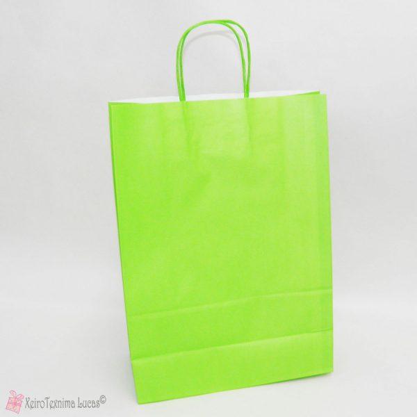 λαχανί χάρτινες τσάντες με στριφτό χεράκι