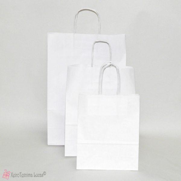 λευκές χάρτινες τσάντες με στριφτό χεράκι