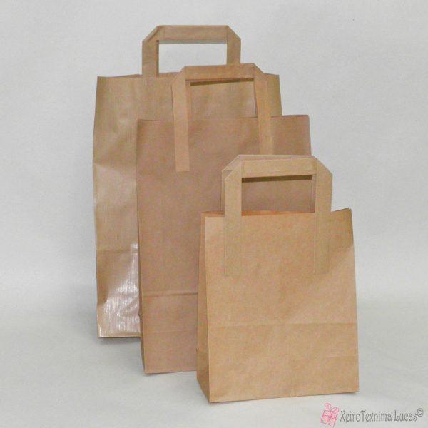 κραφτ χάρτινες τσάντες με πλακέ χέρι