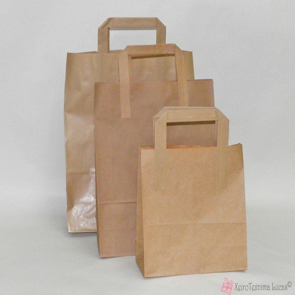 e1416680fa Κραφτ χάρτινες τσάντες με πλακέ χεράκι σε διάφορες διαστάσεις ...