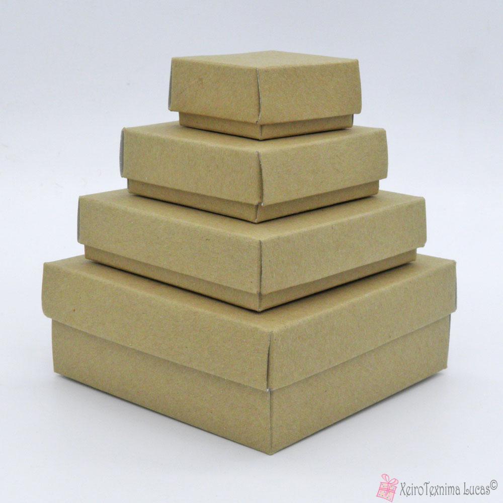 Κραφτ τετράγωνα χάρτινα κουτιά μπιζού