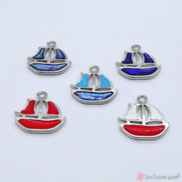 μεταλλικά καραβάκια με σμάλτο σε διάφορα χρώματα