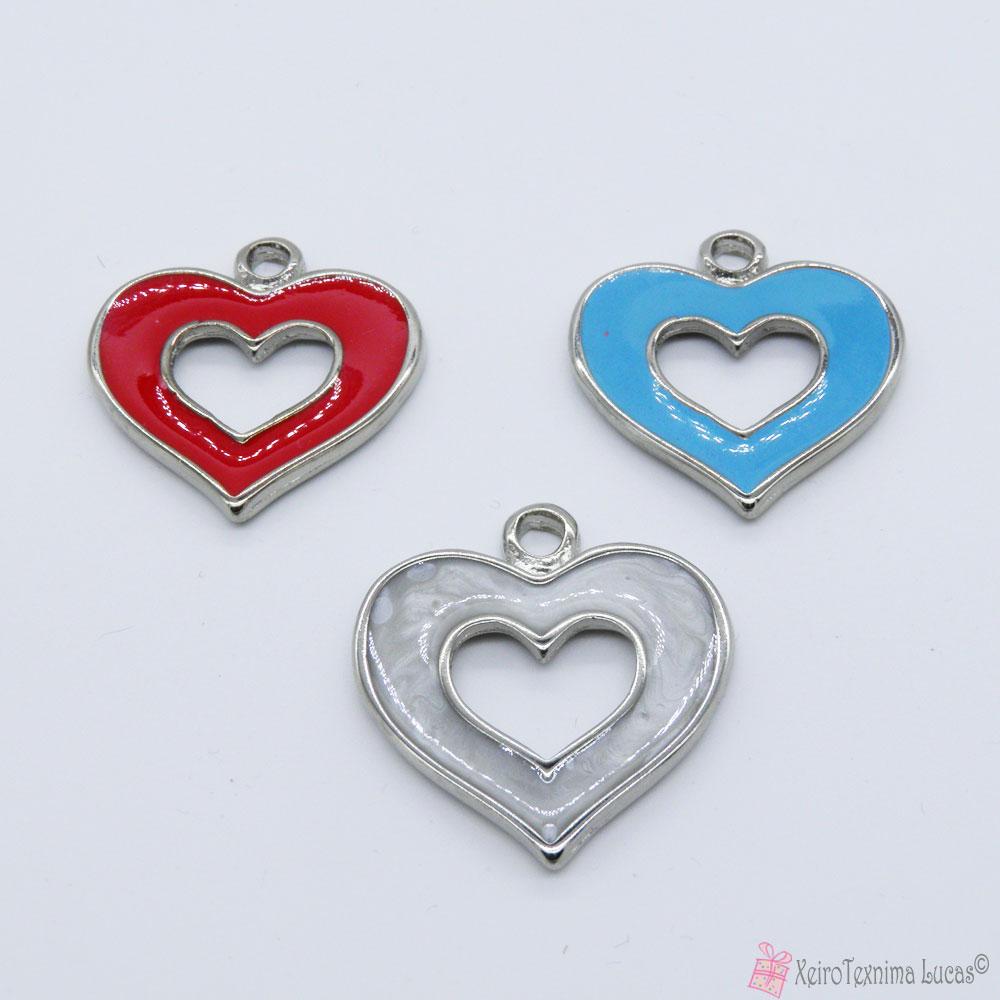 Μεταλλικές καρδιές με σμάλτο σε διάφορα χρώματα
