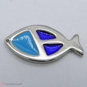 μεταλλικό ψαράκι με μπλε και γαλάζιο σμάλτο