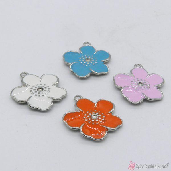 μεταλλικά λουλουδάκια με σμάλτο σε διάφορα χρώματα