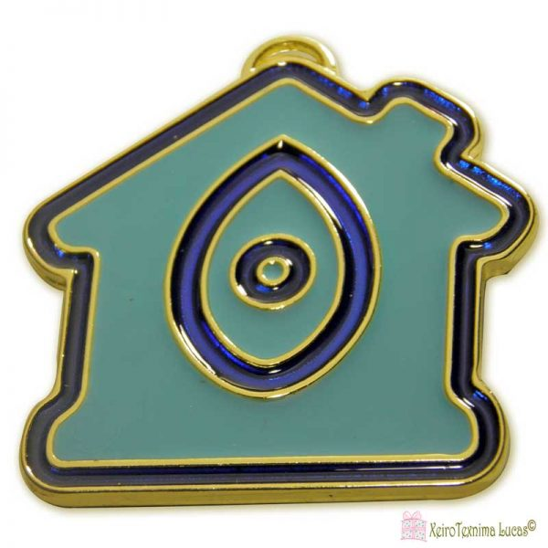 Μεταλλικό σπίτι με γαλάζιο και μπλε σμάλτο