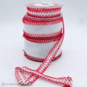 Λευκή κορδέλα τσόχα με κόκκινο κέντημα