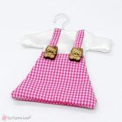 ροζ καρό φουστανάκι πουγκί για αμπαλάζ