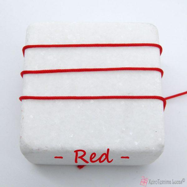 κόκκινο συνθετικό κορδόνι για μακραμέ