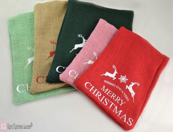 Χριστουγεννιάτικα πουγκιά λινάτσα