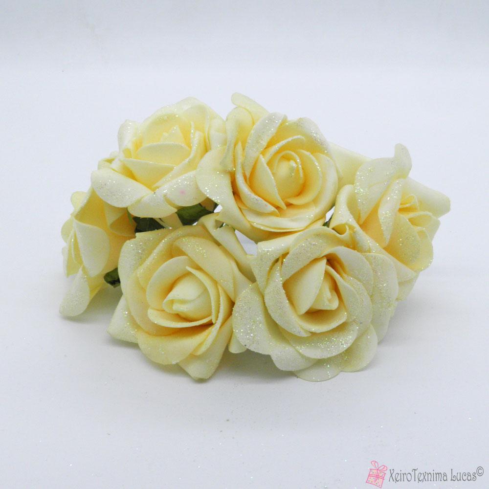 Εκρού διακοσμητικά τριαντάφυλλα με χρυσόσκονη