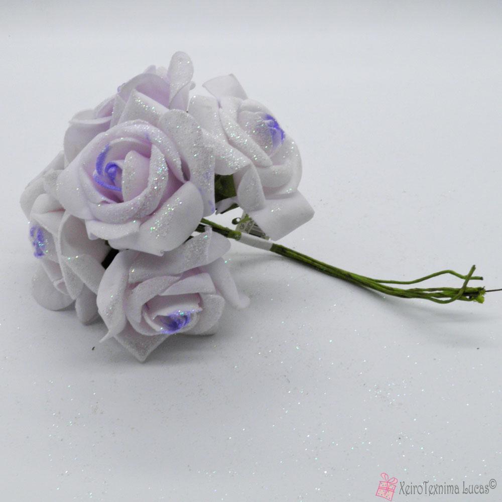 Λιλά διακοσμητικά τριαντάφυλλα με χρυσόσκονη