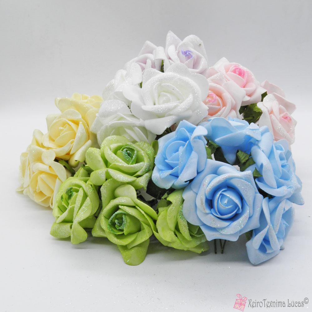 Διακοσμητικά τριαντάφυλλα με χρυσόσκονη σε πολλά χρώματα