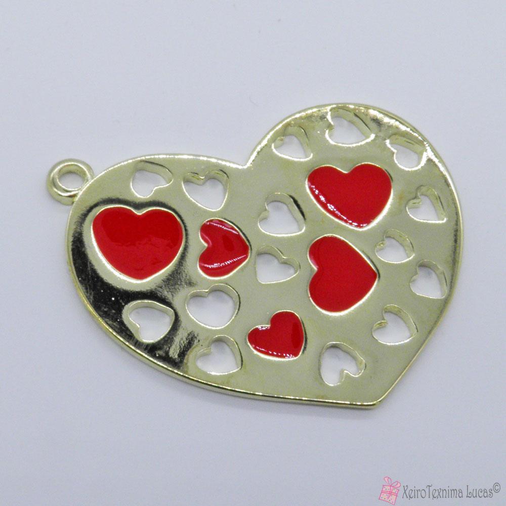 Χρυσή μεταλλική καρδιά με σμάλτο