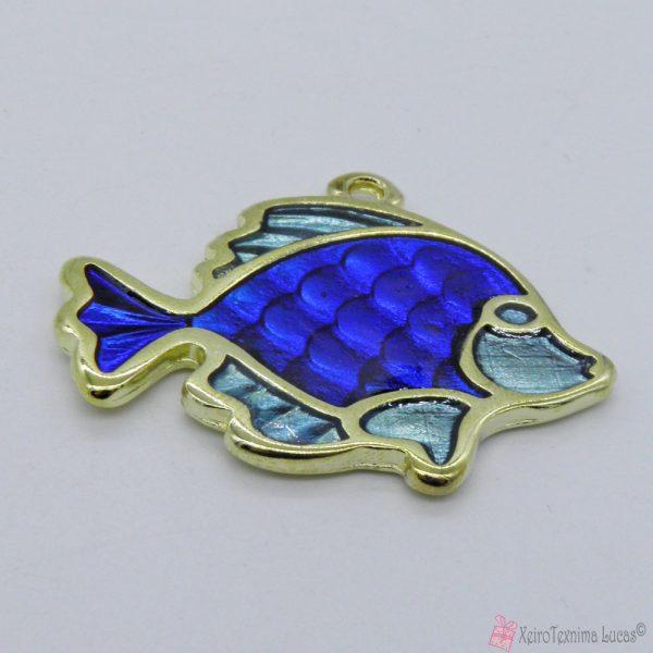 Χρυσό μεταλλικό ψαράκι με μπλε σμάλτο