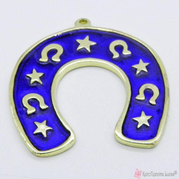 Χρυσό μεταλλικό πέταλο με μπλε σμάλτο