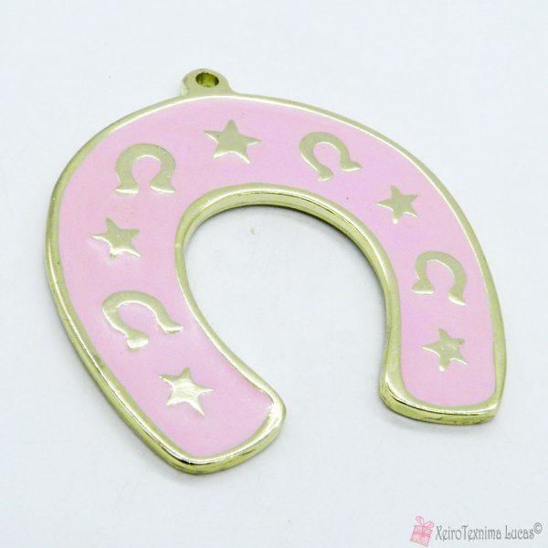 Χρυσό μεταλλικό πέταλο με ροζ σμάλτο