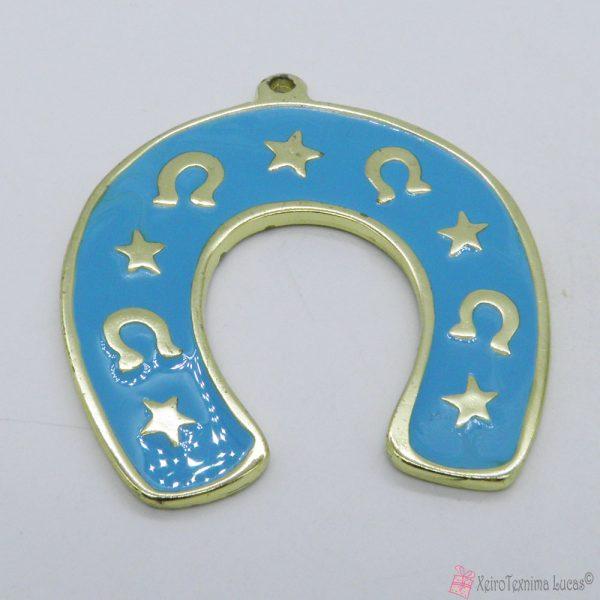 Χρυσό μεταλλικό πέταλο με γαλάζιο σμάλτο