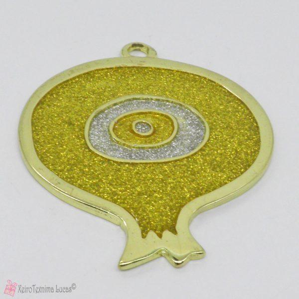 Χρυσό μεταλλικό ρόδι με μάτι σμάλτο
