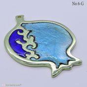 Χρυσό μεταλλικό ρόδι με μπλε σμάλτο