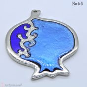Ασημί μεταλλικό ρόδι με μπλε σμάλτο