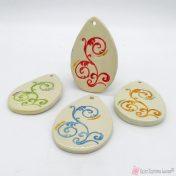 χειροποίητα κεραμικά αυγά με σχέδιο δαντέλα