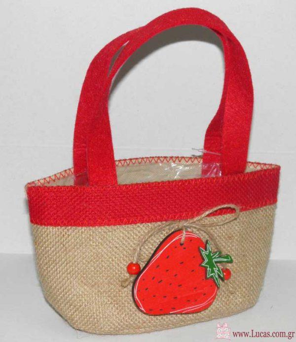 τσάντα λινάτσα φράουλα
