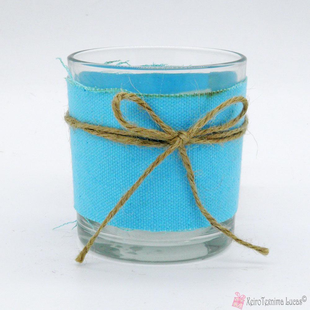 γυάλα με μπλε ύφασμα