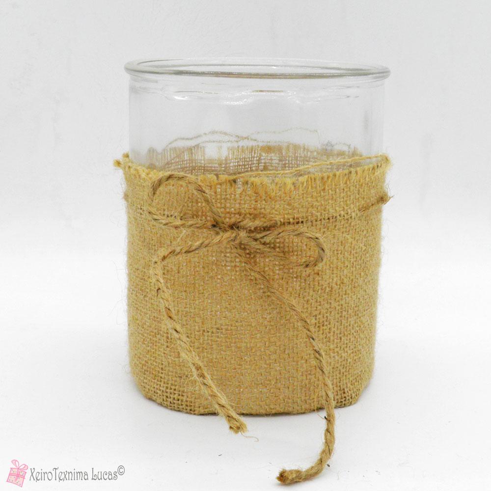 κυλινδρική γυάλα με λινάτσα