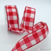 Άσπρη κόκκινη καρό κορδέλα