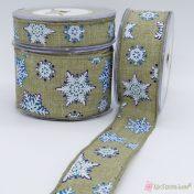 Μπεζ κορδέλα με μπλε και λευκές νιφάδες