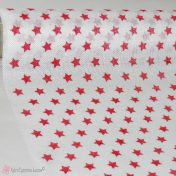 Λευκό ύφασμα με κόκκινα αστέρια