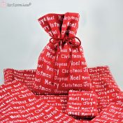 Κόκκινα χριστουγεννιάτικα πουγκιά λινάτσας
