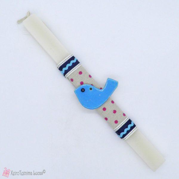 Πασχαλινή λαμπάδα με γαλάζιο κεραμικό πουλάκι