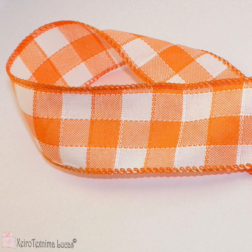 πορτοκαλί καρό κορδέλα