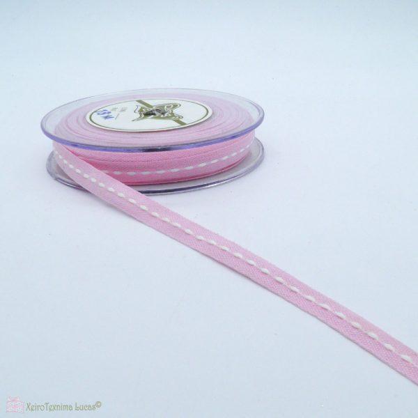 Ροζ κορδέλα με λευκό γαζί