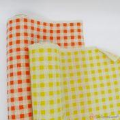 κίτρινο και πορτοκαλί καρό βαμβακερό ύφασμα