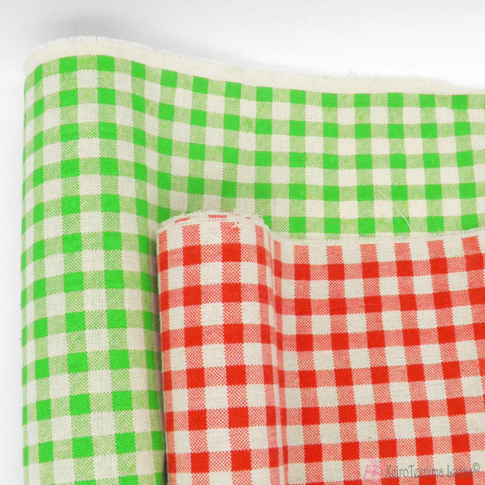 κόκκινο και λαχανί καρό βαμβακερό ύφασμα