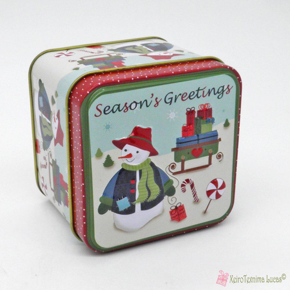 μεταλλικό χριστουγεννιάτικο κουτί season's greetings