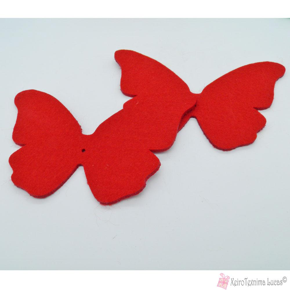 κόκκινες πεταλούδες από τσόχα