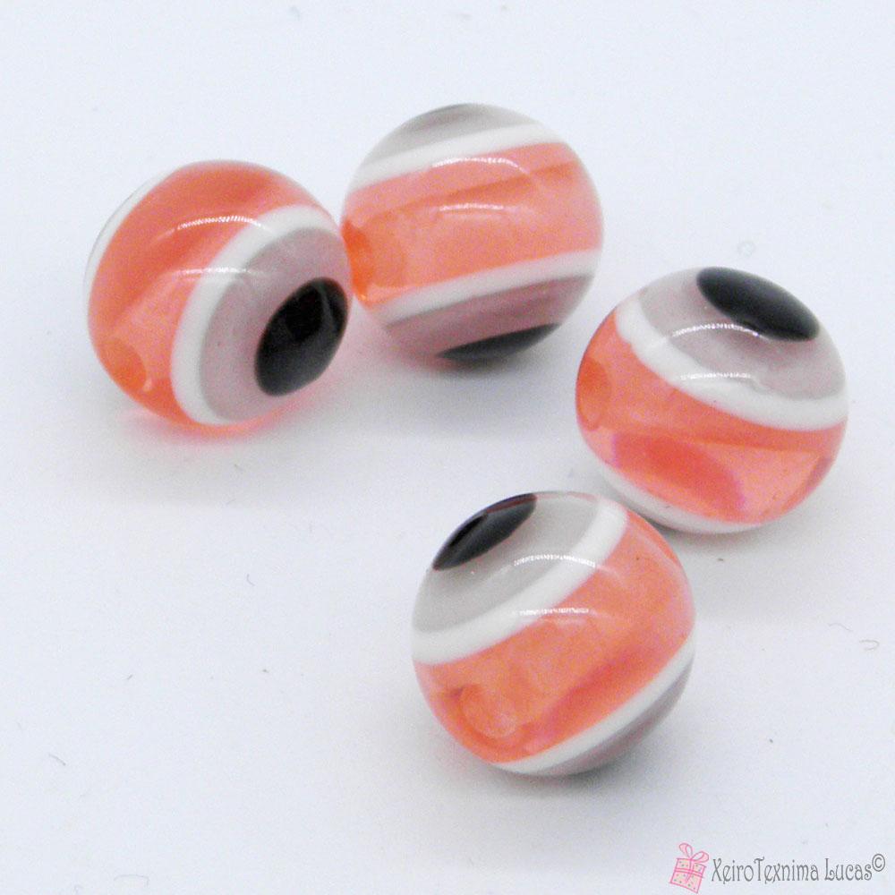 ροζ / σομόν πλαστικές χάντρες μάτια
