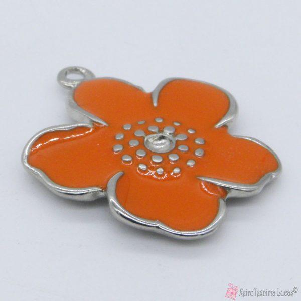 πορτοκαλί μεταλλικό λουλουδάκι με σμάλτο