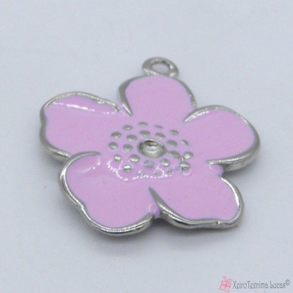 ροζ μεταλλικό λουλουδάκι με σμάλτο