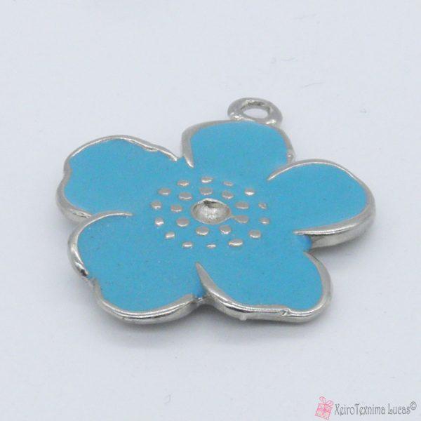 γαλάζιο μεταλλικό λουλουδάκι με σμάλτο