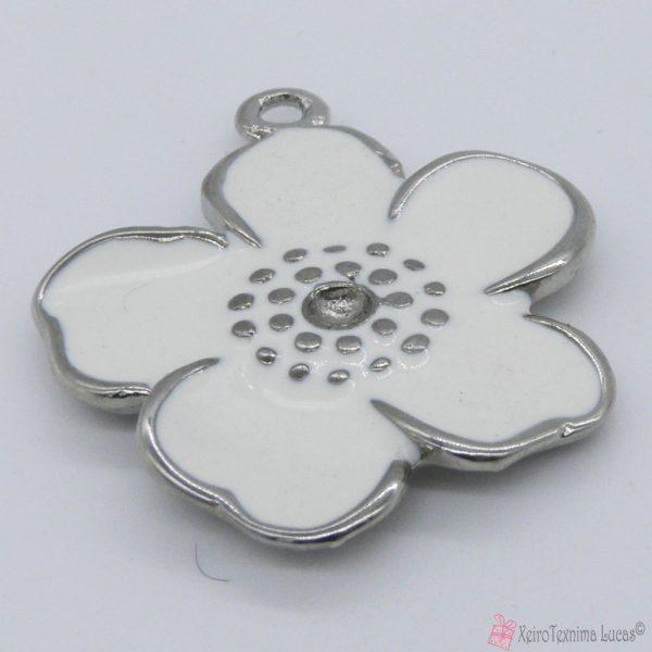 λευκό μεταλλικό λουλουδάκι με σμάλτο