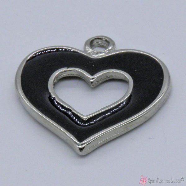 Ασημί μεταλλική καρδιά με μαύρο σμάλτο