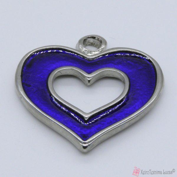 Ασημί μεταλλική καρδιά με μπλε σμάλτο