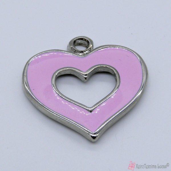 Ασημί μεταλλική καρδιά με ροζ σμάλτο