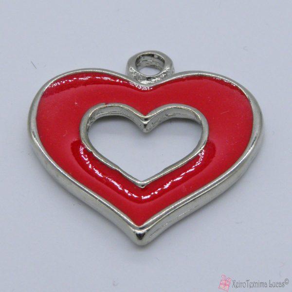 Ασημί μεταλλική καρδιά με κόκκινο σμάλτο