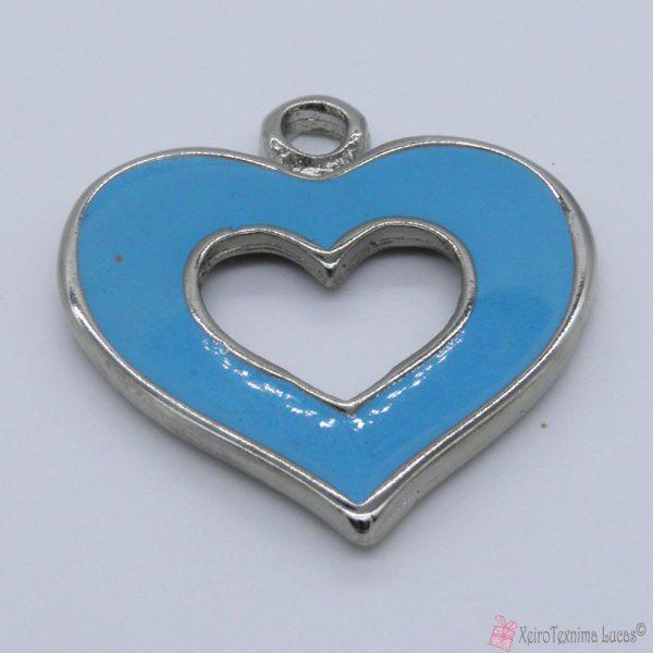 Ασημί μεταλλική καρδιά με γαλάζιο σμάλτο